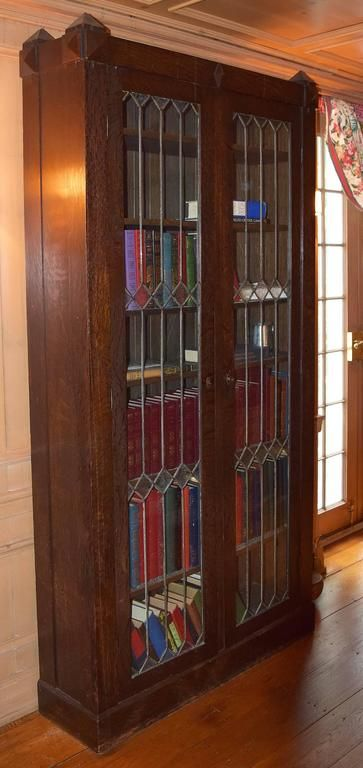 Arts and Crafts Style Oak Bookcase with Leaded Glass Doors For Sale at 1stdibs