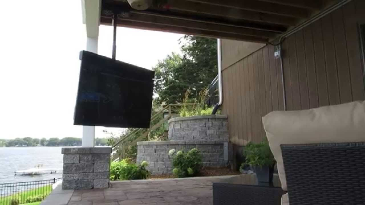 Skyvue Tv On Moveable Track Mount Tv Stand Luxury Outdoor Tv Mount Outdoor Fireplace Patio