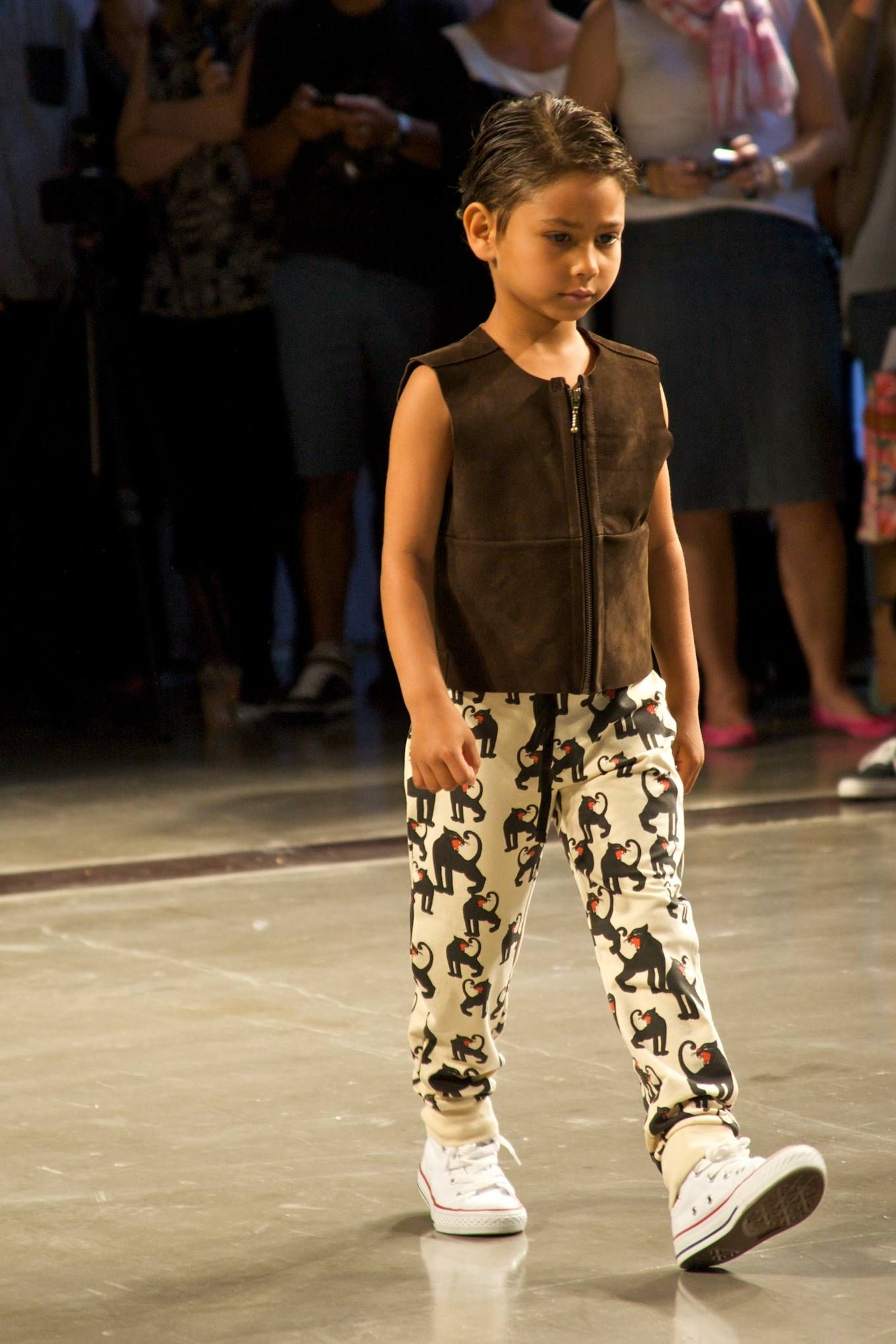 Petit Nord suede vest and Mini Rodini trousers at CPH Kids fashion show for summer 2013