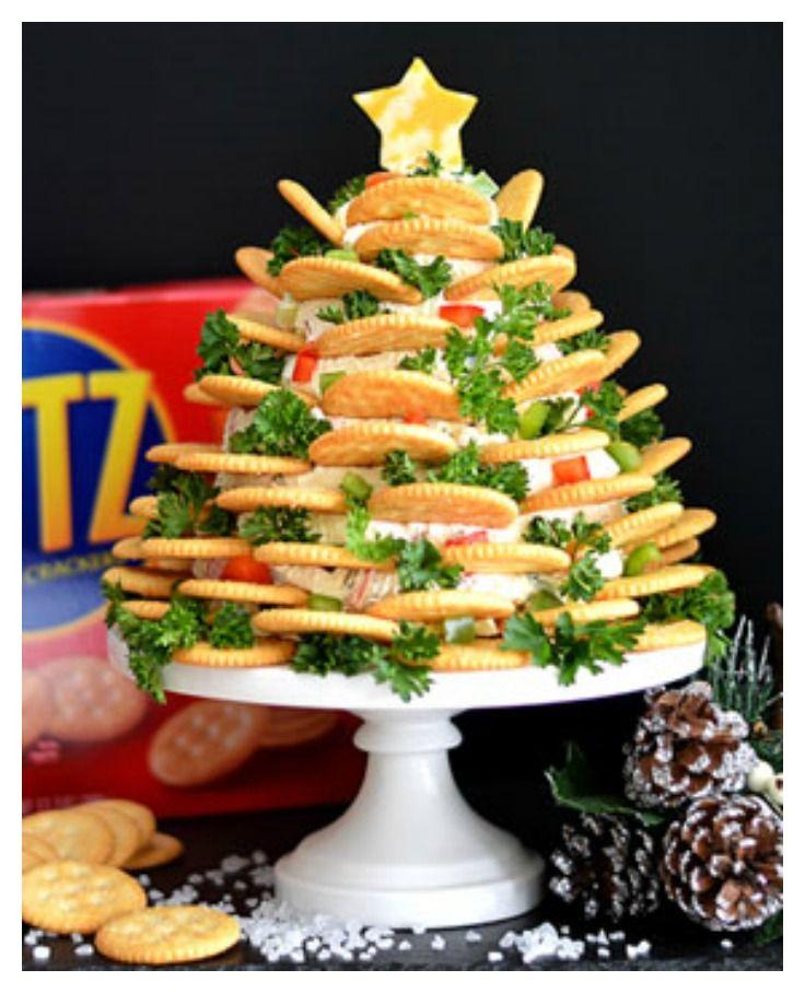 Holiday Ritz Crackers Veggie Cream Cheese Appetizer Tree Theveglife Cream Cheese Appetizer Cheese Appetizers Xmas Appetizers