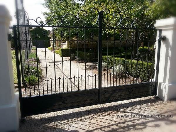 Large Wrought Iron Driveway Gates With Hand Forged Scrollwork And