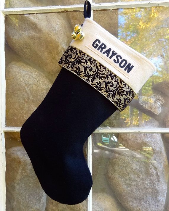8681ca146 Our strikingly glamorous and elegant Gold and Black Velvet Swirl Glitz  Personalized Christmas Stockings are MADE IN THE USA by us at Annies  Woolens on our ...