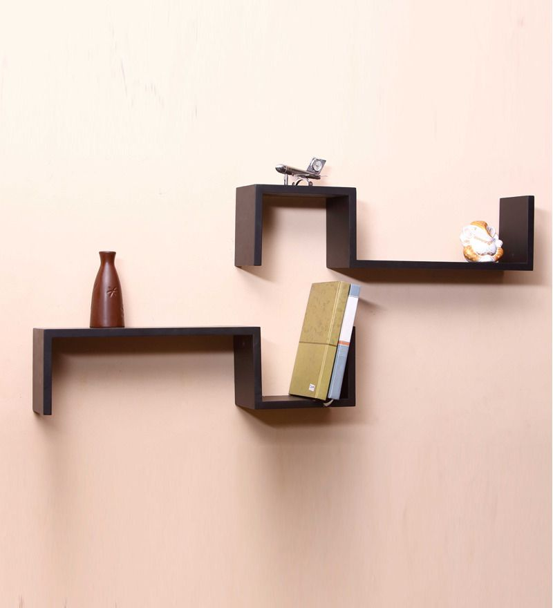 MDF S Shaped Black Wall Shelves - Set of 2