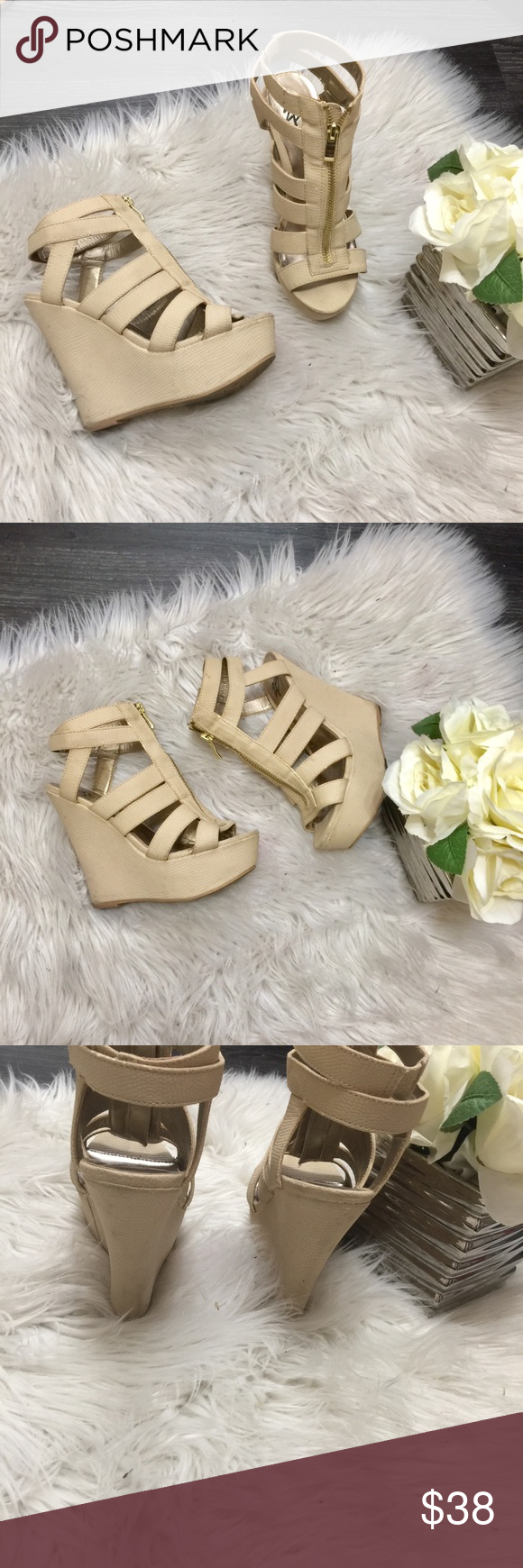 ea22cb01816d 2B Bebe platform wedge sandals 2B Bebe platform wedge cream color zip up  strappy sandals. In excellent condition. Worn just a few times. Snake skin  look.