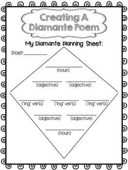 picture relating to Diamante Poem Template Printable named Absolutely free Poetry Composing Diamante Poems Composing