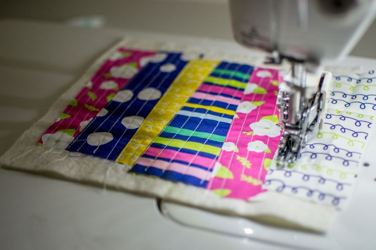"How to use scraps and ""quilt-as-you-go."""