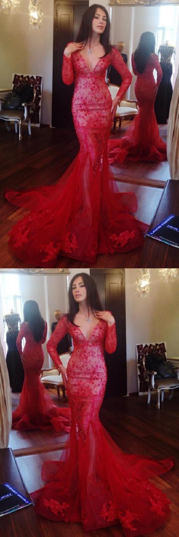 Mermaid red mermaid appliques v neck simi prom dresses