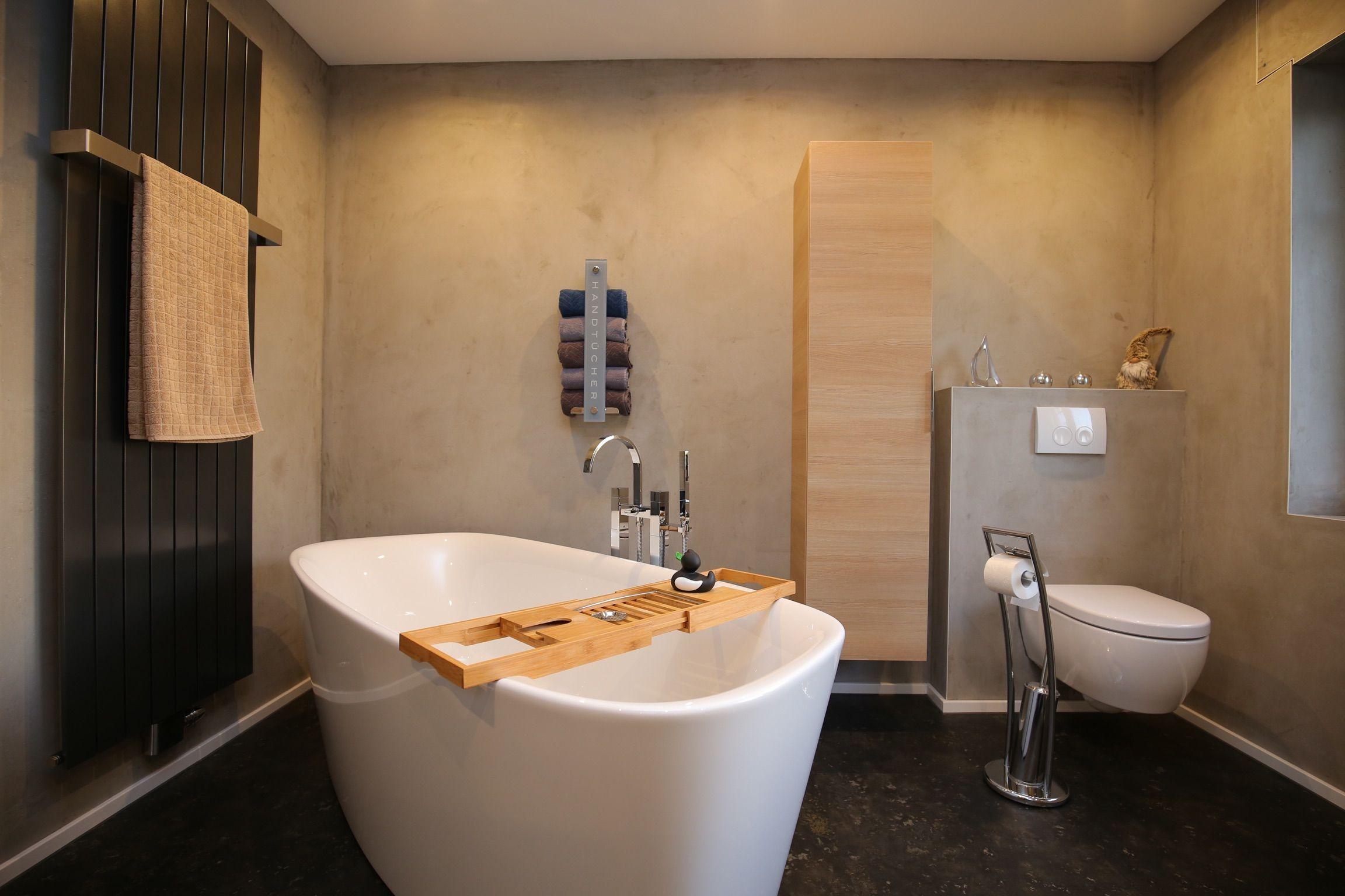 Badezimmer Wandflachen Mit Terra Stone Und Designbodenbelag Mit Objectfloor Domestic Badezimmer Design Malerarbeiten