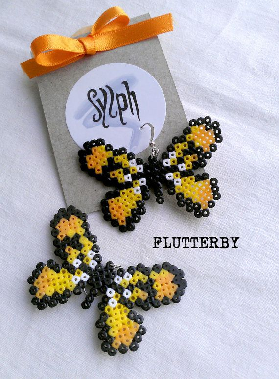 Earrings made of Hama Mini Beads  Flutterby yellow by SylphDesigns, €5.00