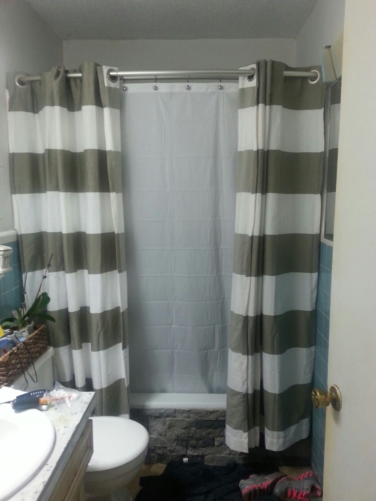 Cheap Bathroom Makeover Double Rod Shower Curtain Grey And White