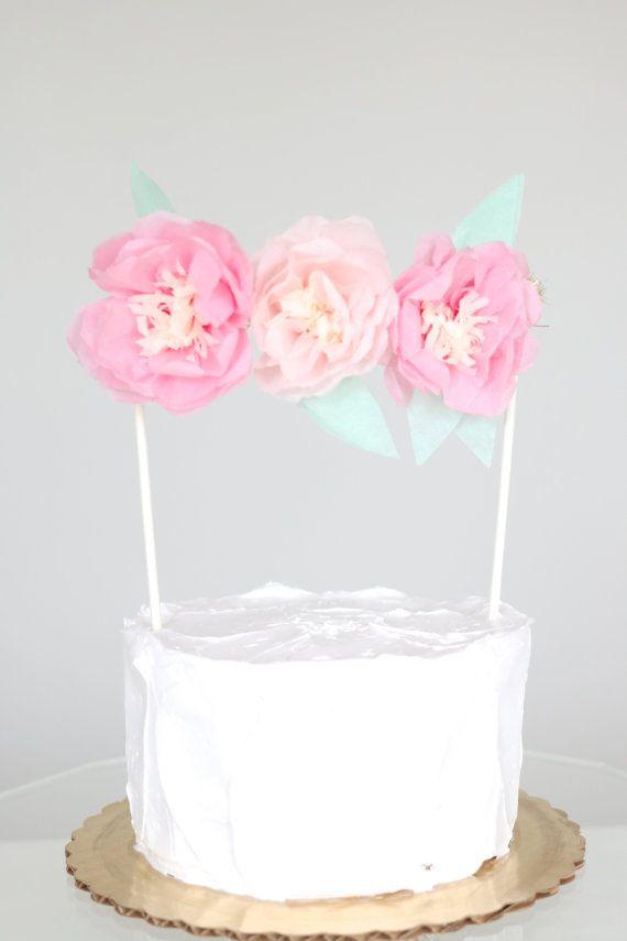 Pink Paper Flower Cake Topper - Tissue Paper Cake Topper / Custom Color Tissue…