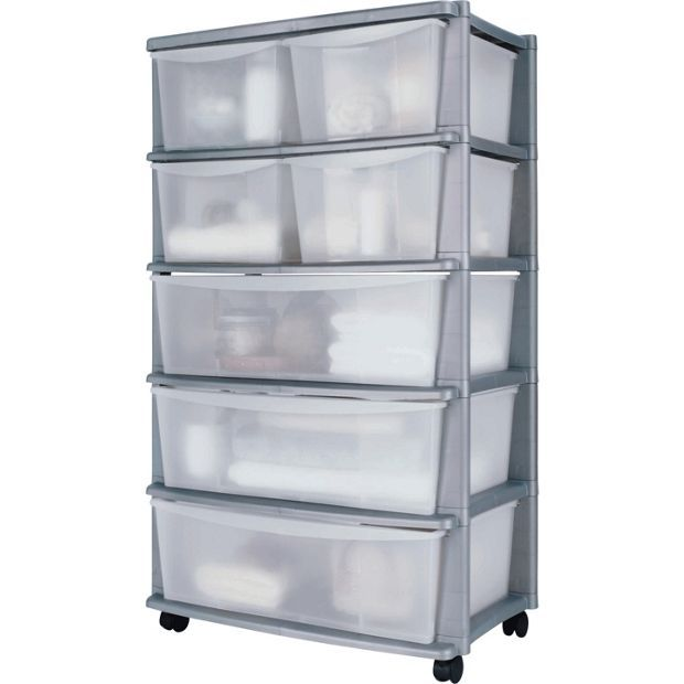 Buy Home  Drawer Plastic Wide Tower Storage Unit Silver At Argos Co