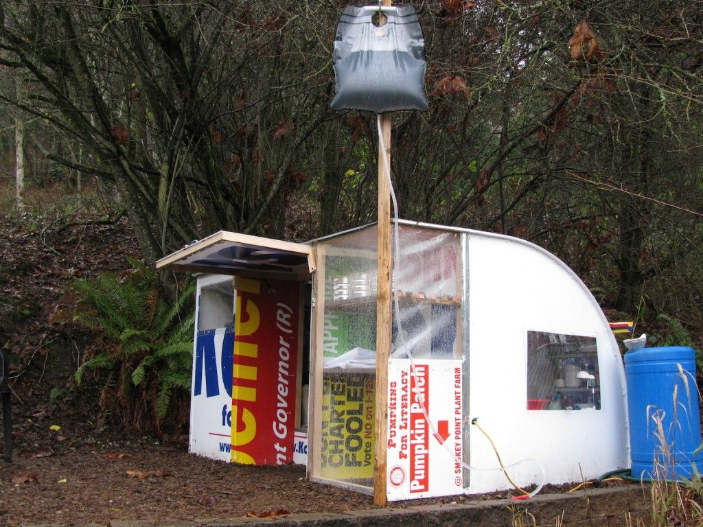 Another one of my concept shelters made from recycled campaign signs, wood and skrews.