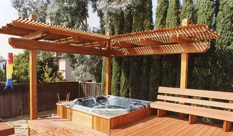 Landscaping And Outdoor Building Corner Pergola In A Deck Over Hot Tub