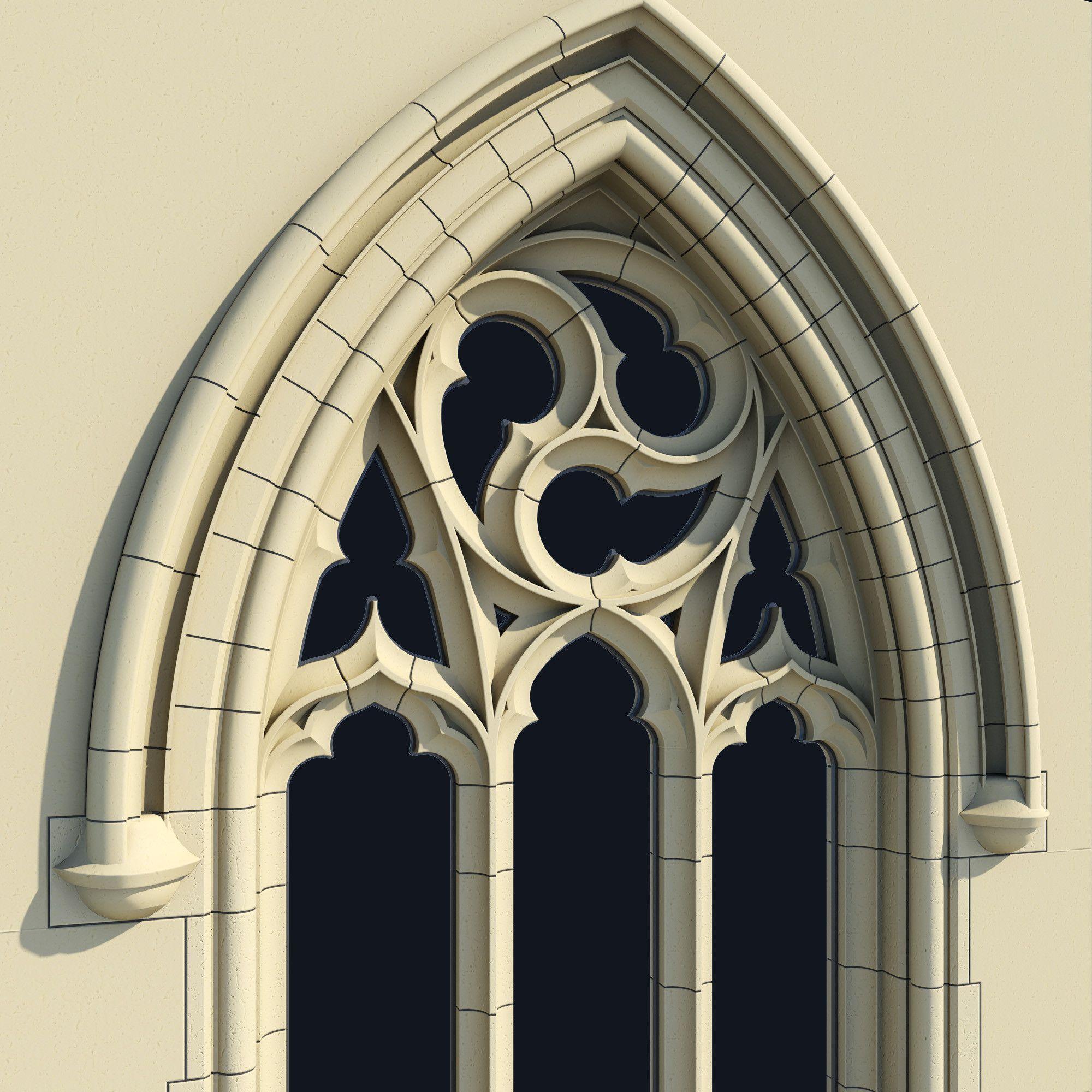 3d obj small arched gothic window 3d model 3d modeling. Black Bedroom Furniture Sets. Home Design Ideas