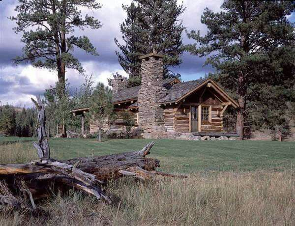 Log Cabin With Stone Chimney With Images Guest Cabin Montana Ranch Cabin