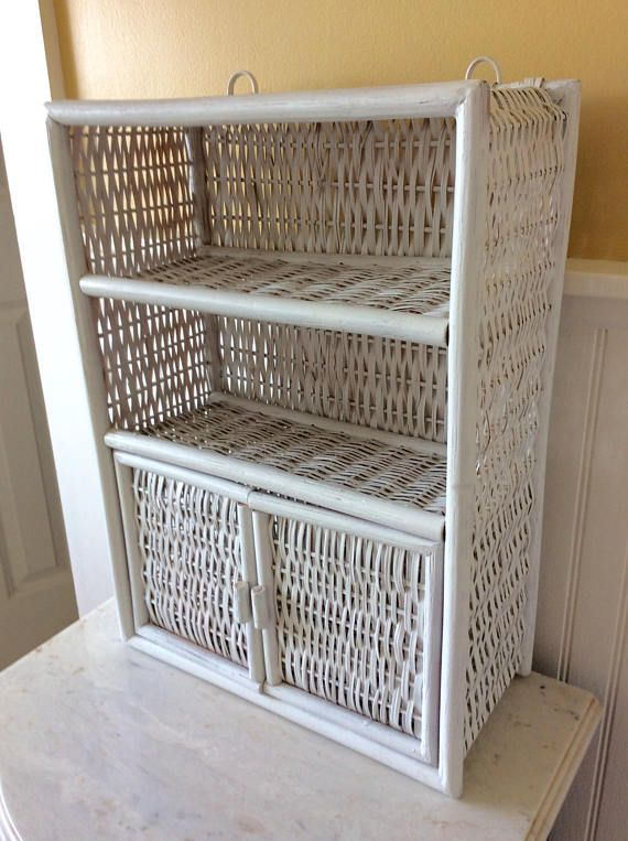 Vintage White Wicker Wall Cabinet Wall Shelf Bathroom Medicine