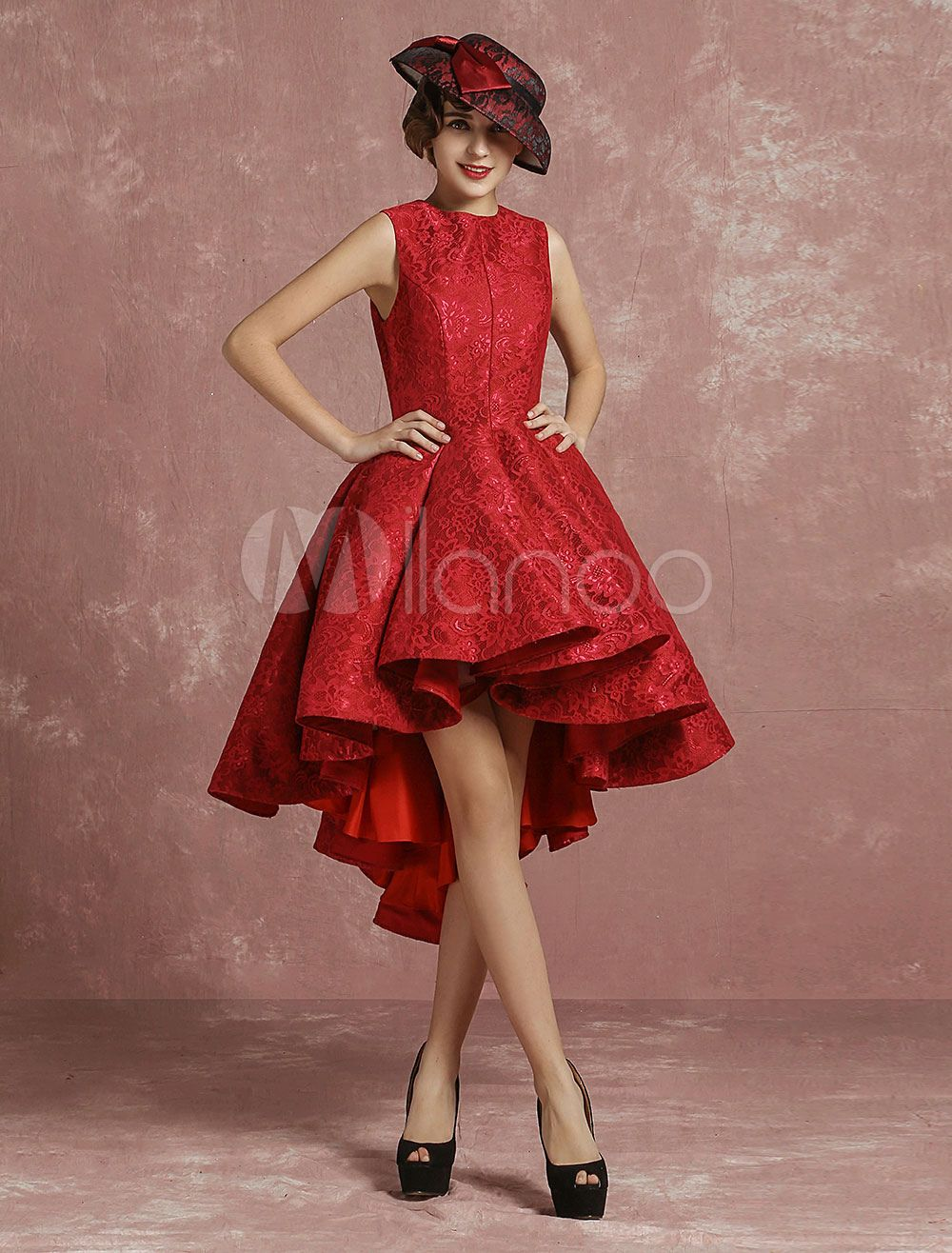 Red prom dresses short lace cocktail dress burgundy pleated a