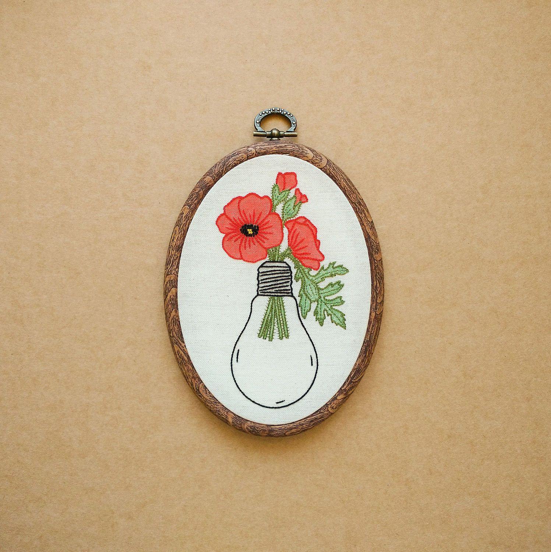 Poppies in a Light Bulb Hand Embroidery Hoop Art (tattoo modern ...