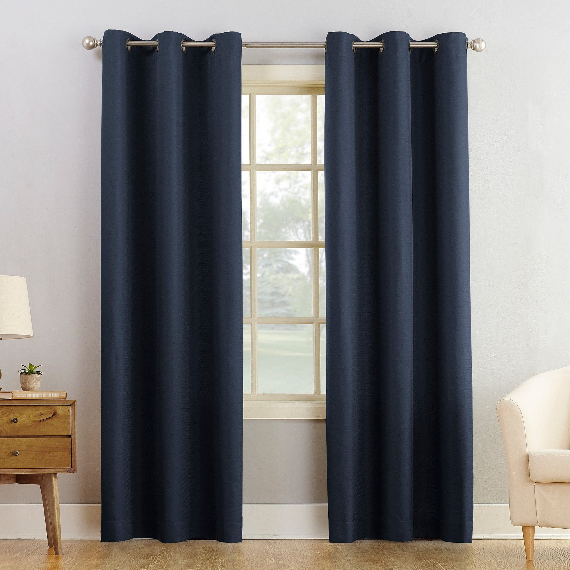 Montego Casual Textured Grommet Curtain Panel Navy 48 X95 No