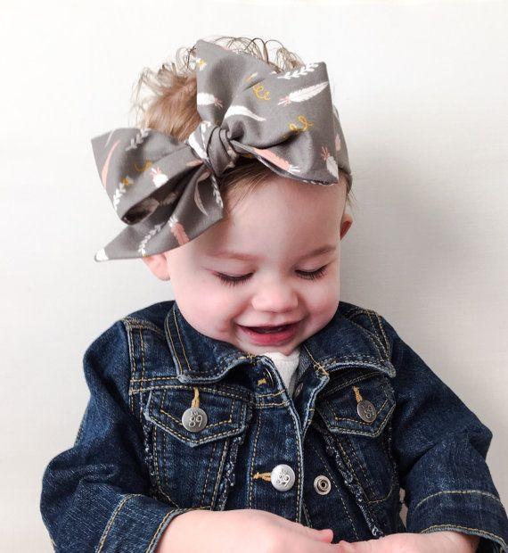 Baby Headwrap Gray Coral Pink Feather Aztec Head Wrap Baby Big