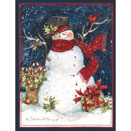 Lang Snowman Scarf Boxed Christmas Cards, Multicolor Tarjetas