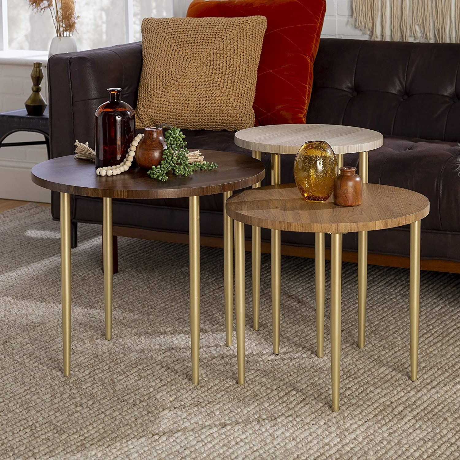 3 Piece Modern Round Nesting Coffee Table Set In Dark Walnut In 2021 Round Nesting Coffee Tables Nesting Coffee Tables Coffee Table [ 1500 x 1500 Pixel ]