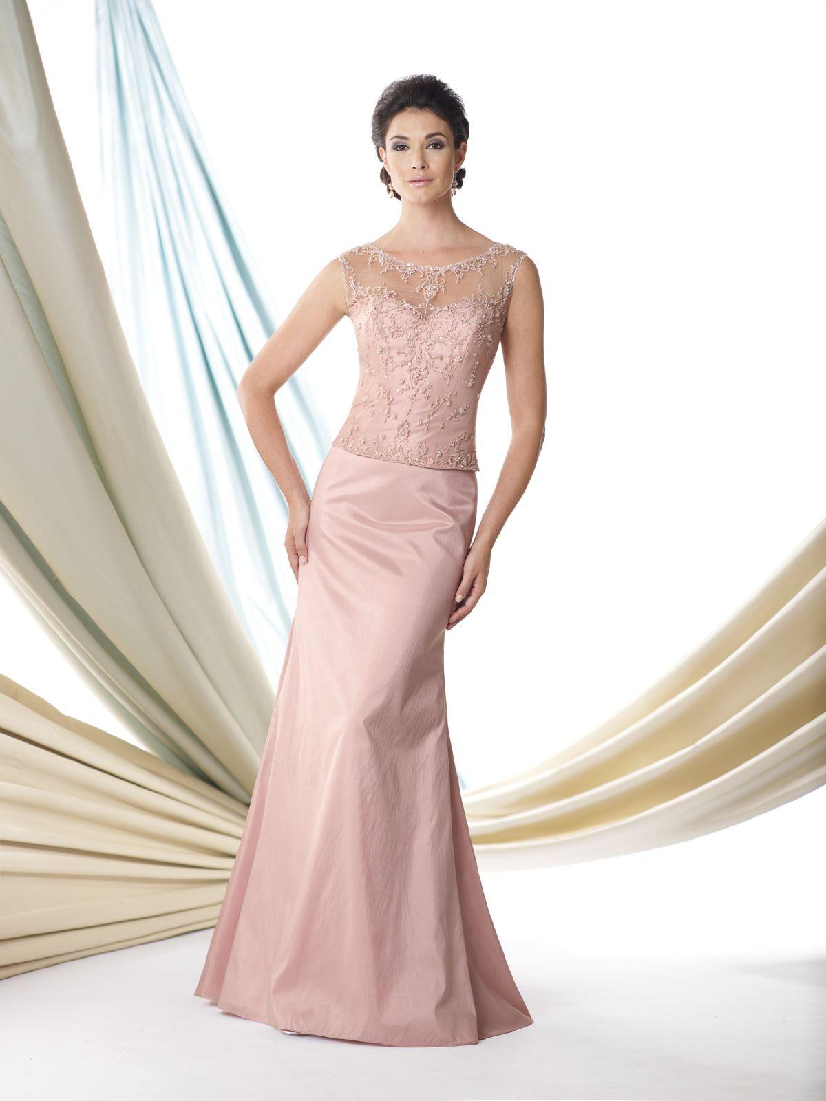 Mock two-piece taffeta slim A-line dress with illusion cap sleeves ...