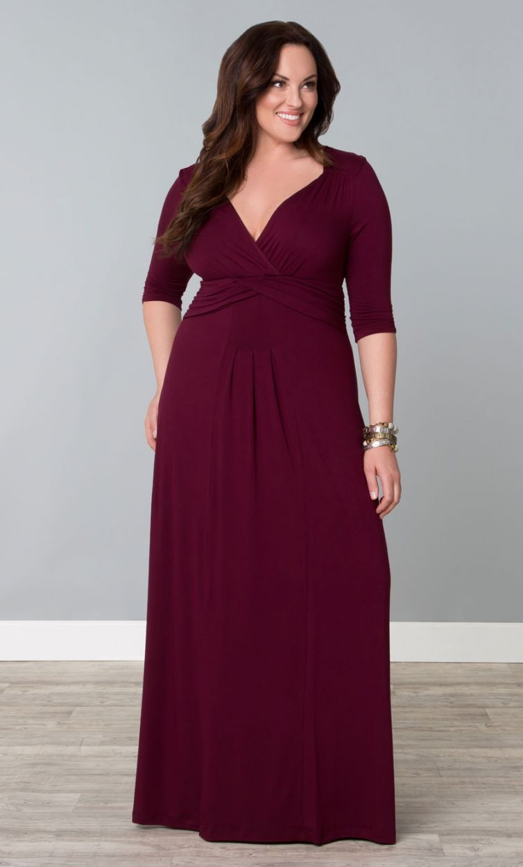 Desert Rain Dressy Casual Long Maxi Dress Burgundy Womens Plus