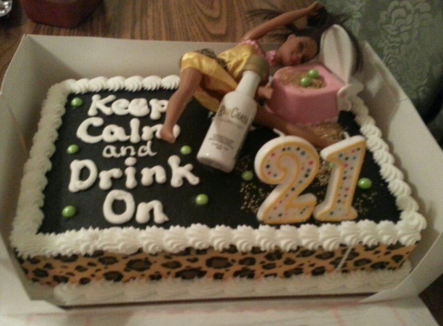 Pastel De Cumpleanos 21 Anos.Keep Calm And Drink On 21st Birthday Cake Dulces