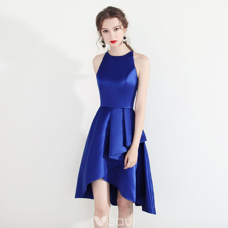 80d273d74ca Modern   Fashion Royal Blue Homecoming Graduation Dresses 2018 A-Line    Princess Scoop Neck Sleeveless Asymmetrical Ruffle Formal Dresses