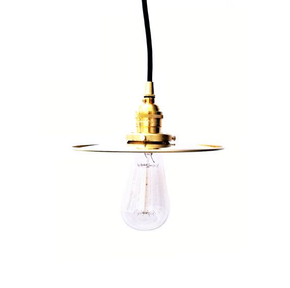 Brass pendant light l& ste&unk industrial 8  flat shade vintage antique Edison bulb rustic hanging  sc 1 st  Pinterest & Brass pendant light lamp steampunk industrial 8