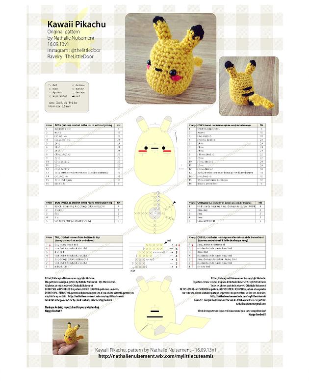 Amigurumi Pikachu free pattern super easy and so kawaii !! Amigurumi ...
