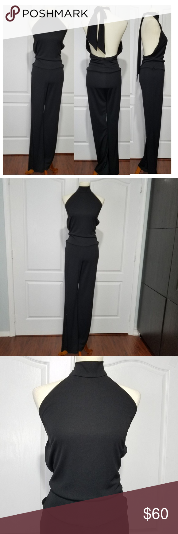 95c369386931 Cache Black Open Back Jumpsuit sz L Cache Women s Black Jumpsuit size Mock Neck  Halter - Ties on the back with a big bow Open Back Jersey Stretch Viscose   ...