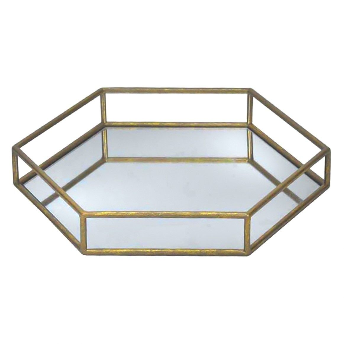 hexagon gold mirror tray target master bath