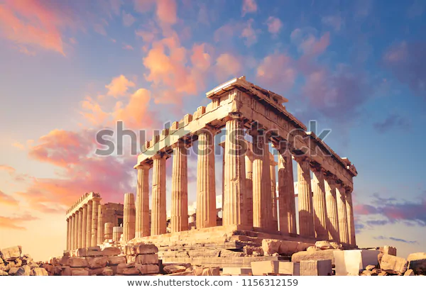Parthenon Temple On Sunset Pink Purple の写真素材 今すぐ編集