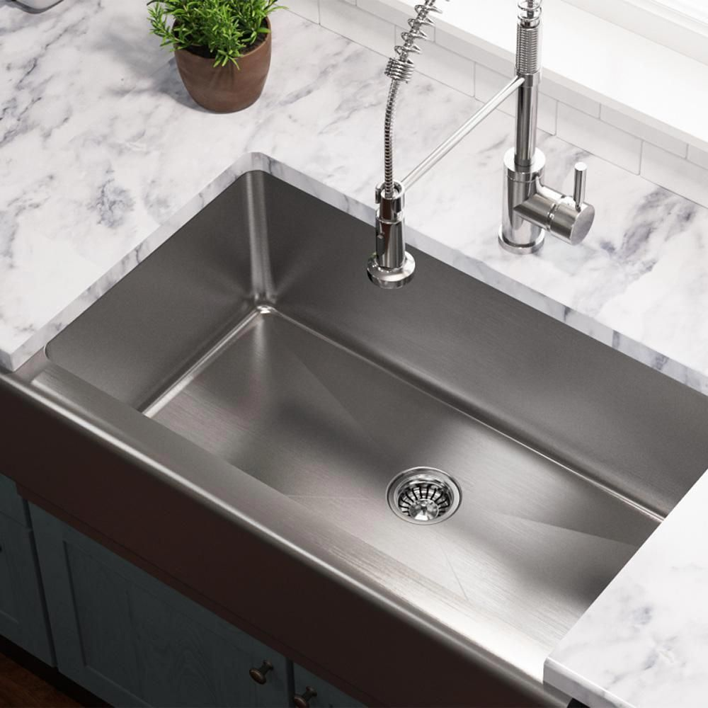 Mr Direct Farmhouse Apron Front Stainless Steel 33 In Single Bowl Kitchen Sink 405 The Home Depot In 2020 Stainless Steel Apron Sink Single Bowl Kitchen Sink Apron Sink Kitchen