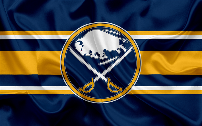 Download wallpapers Buffalo Sabres, hockey club, NHL, emblem, logo, National Hockey League, hockey, Buffalo, New York, USA