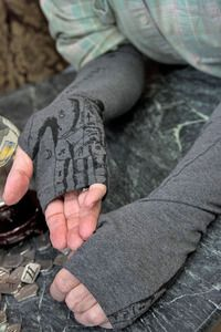Palmistry Arm Cozies - Care to know your fortune? What have the stars in store for you? Covered in cryptic chirology  guides, these arm cozies are two different kinds of divine.  Made exclusively for Sock Dreams in Seattle, Washington USA!