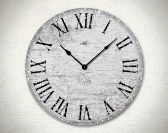 London Gray 18in Large Wall Clock In Black With Roman Numerals Modern
