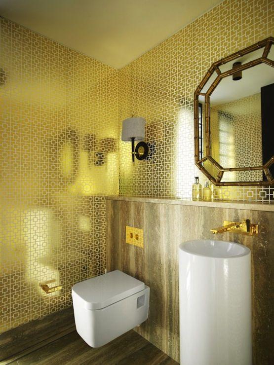Greg Natale   Bathrooms   Jonathan Adler Gold Nixon Wallpaper, Jonathan  Adler Ventana Wall Sconce, Gold Bathroom, Gold Powder Room, Metallic.