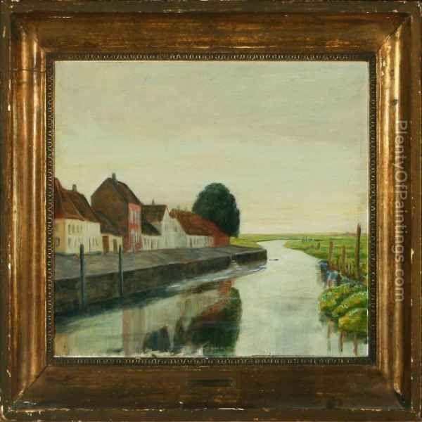 Ved Ribe Skibsbro Oil Painting Johan Gudmann Rohde Oil Paintings Painting Oil Painting Reproductions Oil Painting
