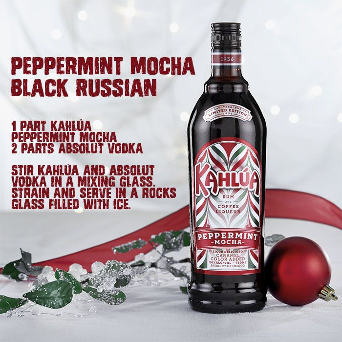 Get Into The Holiday Spirit By Mixing Up A Kahlua Peppermint Mocha Black Russian They Re A Fun Easy Cocktail F Kahlua Drinks Mocha Drink Mixed Drinks Alcohol