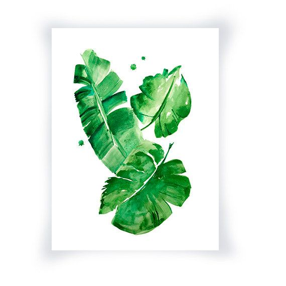 banana leaves watercolor print green wall art home decor green