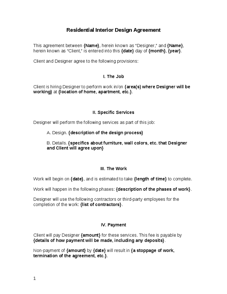 Interior Design Contract Agreement Free Printable Documents Contract Interior Design Interior Design Template Interior Design Business Plan