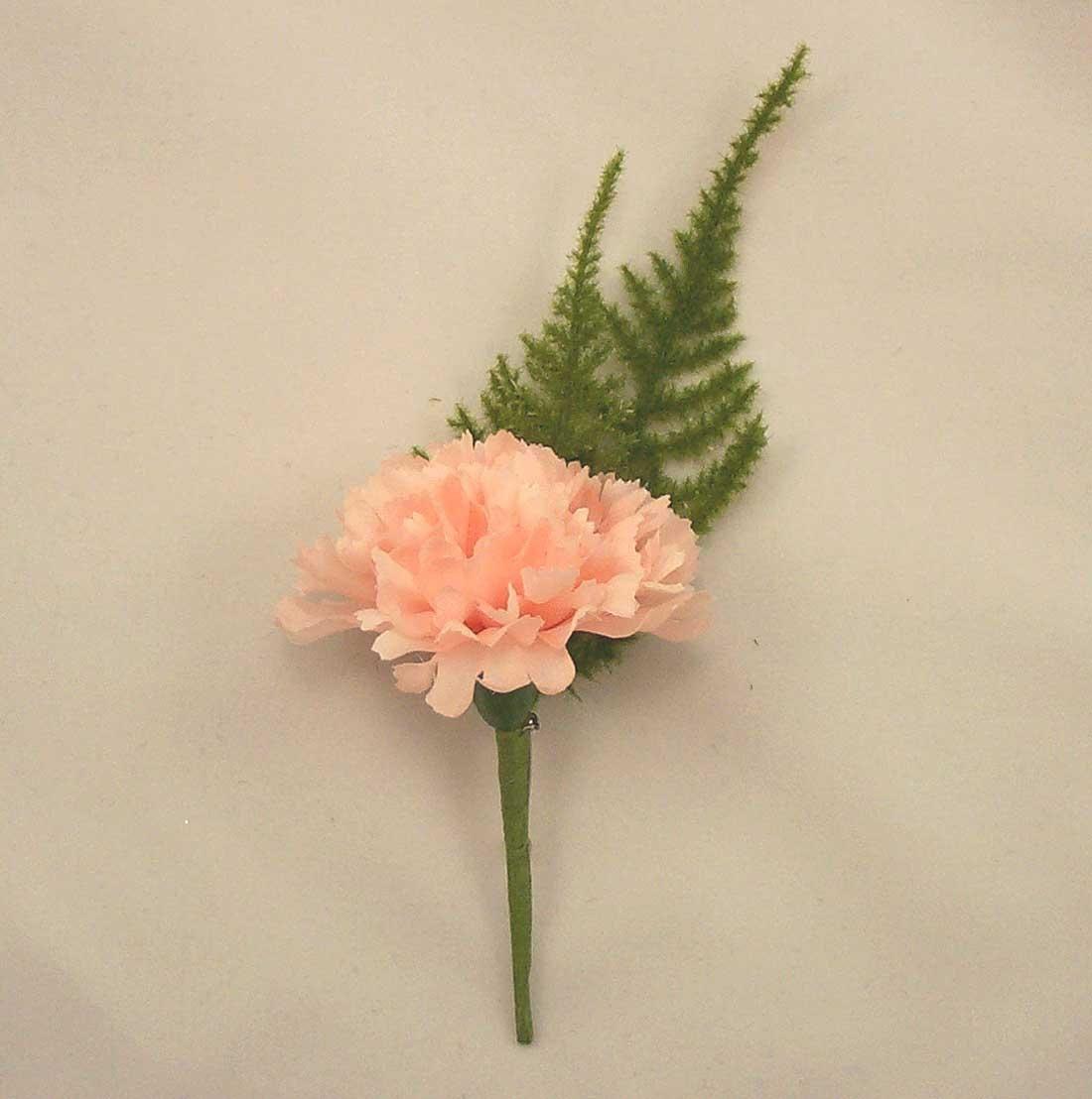 Peach Carnation Fern Buttonhole