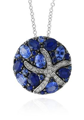 Effy Blue Sapphire  Diamond Starfish Necklace in 14K White Gold