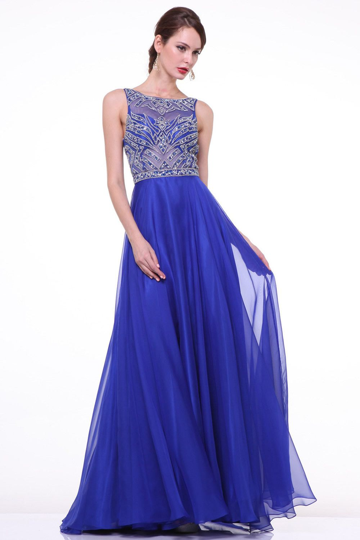Elegant royal blue long beaded cap sleeves backless prom dresses