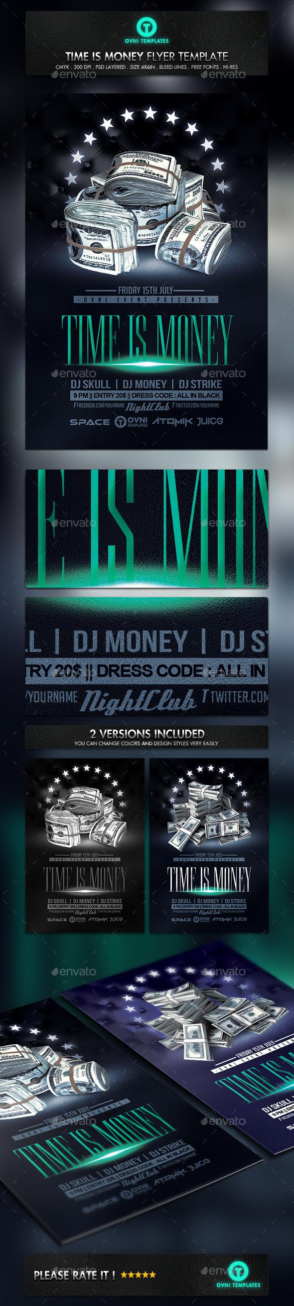 Cash Money Flyer Template Photoshop PSD Dollar Bills Celebration - Money flyer template