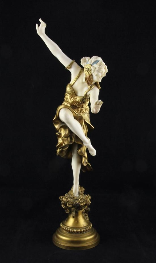 Claire Jeanne Roberte Colinet (1880-1950), a gilt bronze and ivory figure, 'Corinthian Dancer'